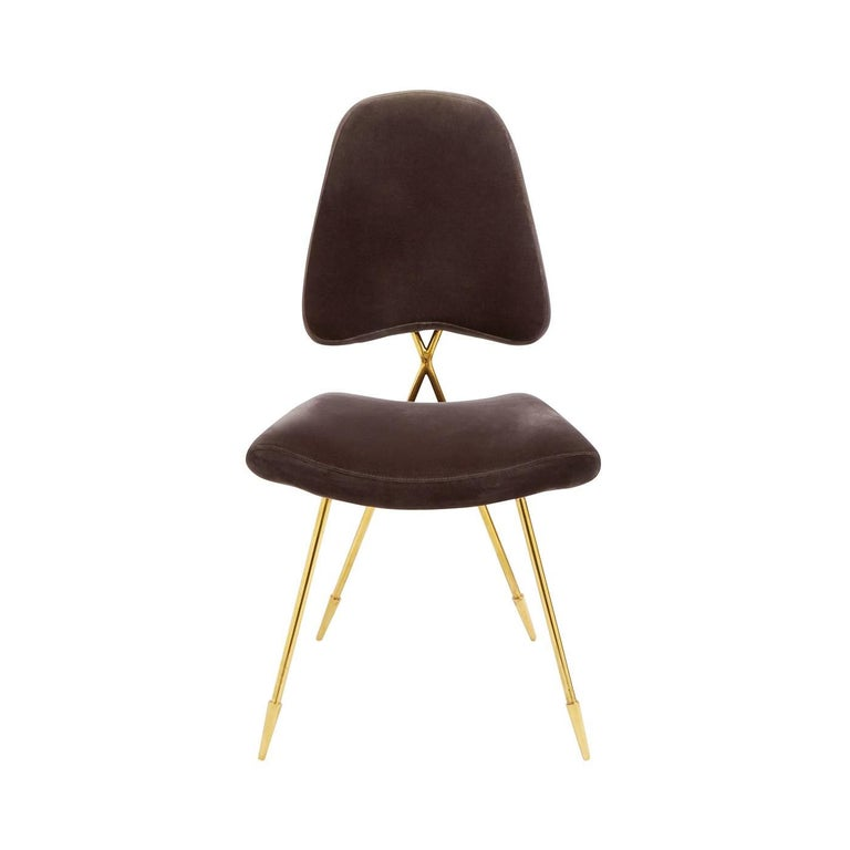 maxime velvet and brass dining chair for sale at 1stdibs. Black Bedroom Furniture Sets. Home Design Ideas