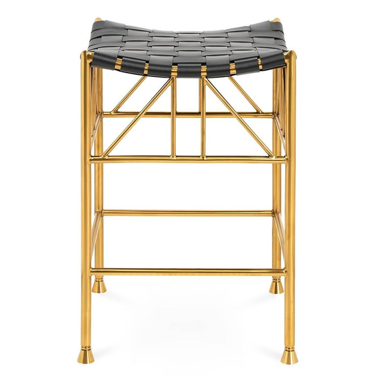 Thebes Leather and Brass Counter Stool