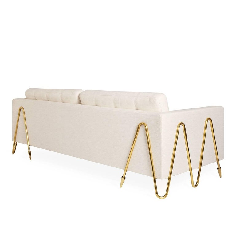 Maxime Oyster Linen And Brass Sofa For Sale At 1stdibs