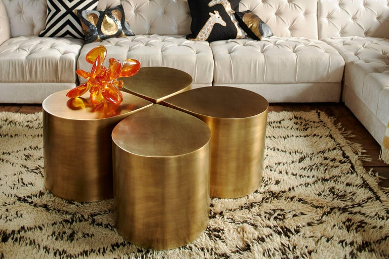 Brushed Brass Teardrop Table For Sale