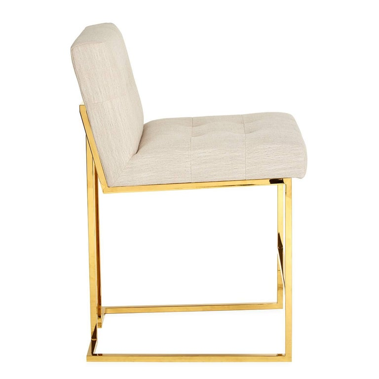Goldfinger Linen And Brass Counter Stool For Sale At 1stdibs