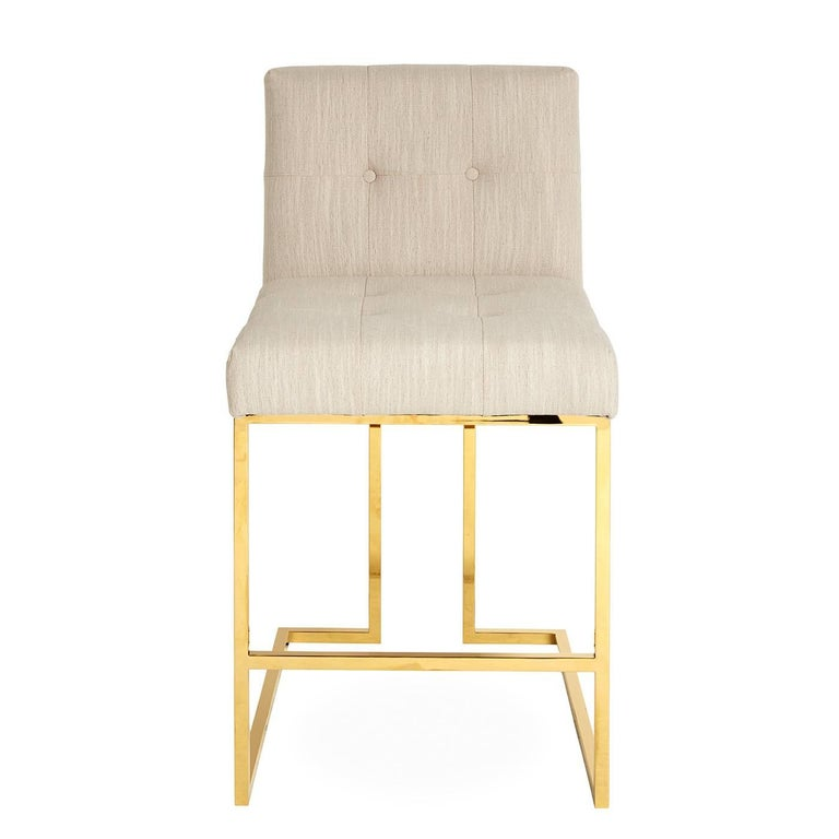Admirable Goldfinger Linen And Brass Counter Stool Unemploymentrelief Wooden Chair Designs For Living Room Unemploymentrelieforg
