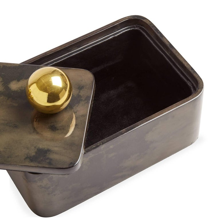 Contemporary Trocadero Lacquered Goatskin Box in Charcoal For Sale