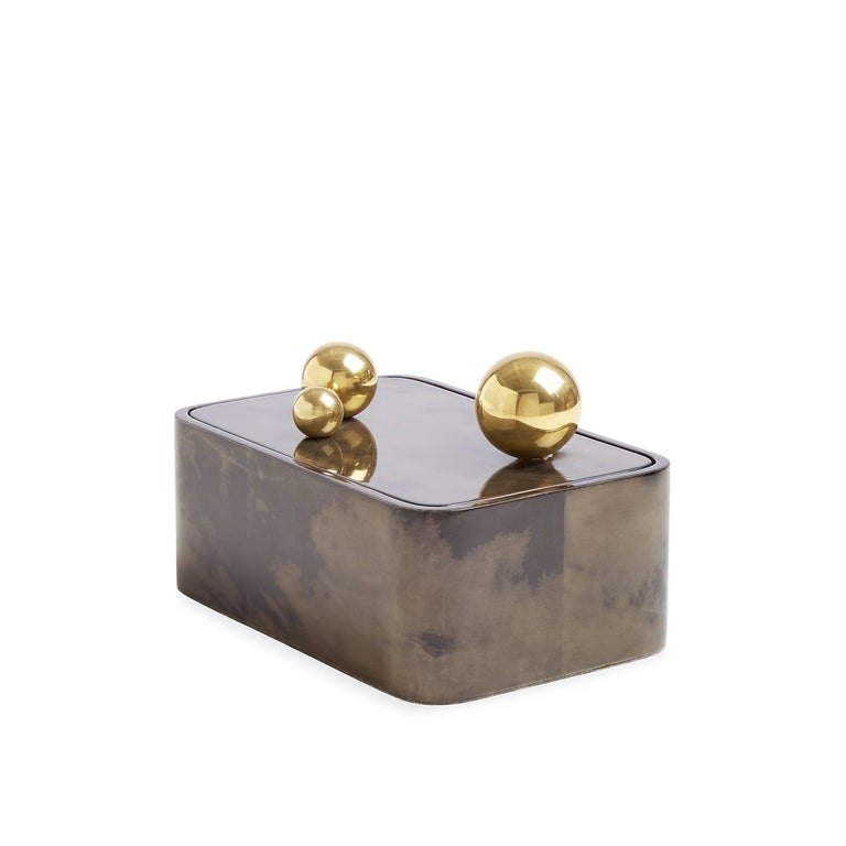 American Trocadero Lacquered Goatskin Box in Charcoal For Sale