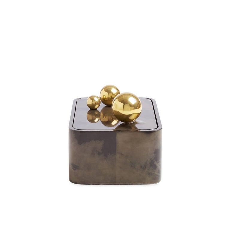 Trocadero Lacquered Goatskin Box in Charcoal In New Condition For Sale In New York, NY