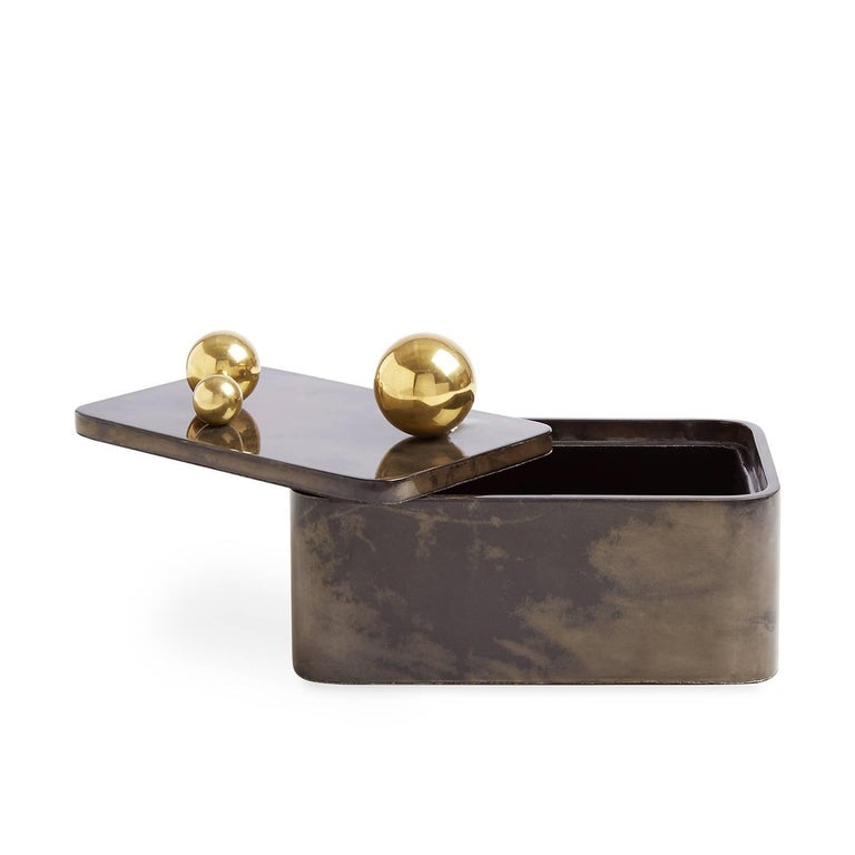 Brass Trocadero Lacquered Goatskin Box in Charcoal For Sale