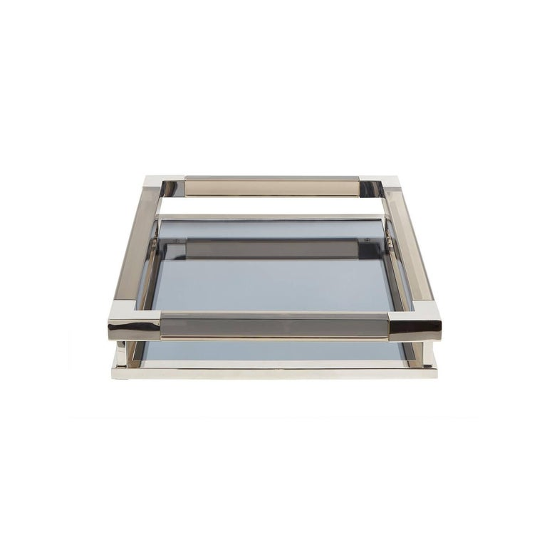 Modern Small Jacques Tray in Smoke Lucite and Nickel For Sale