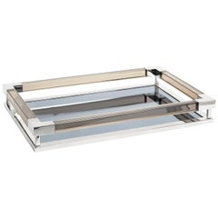 Large Jacques Tray in Smoke Lucite and Nickel