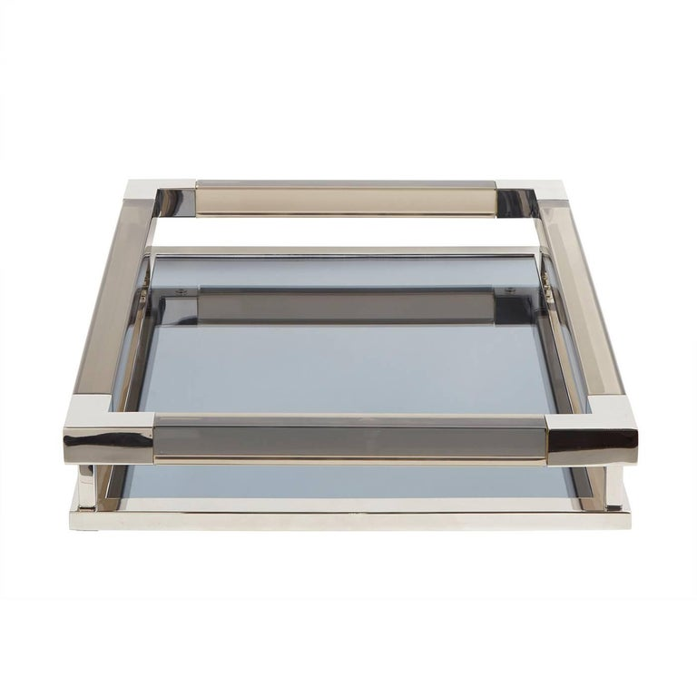 Modern Large Jacques Tray in Smoke Lucite and Nickel For Sale