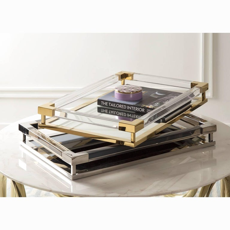 Large Jacques Tray in Smoke Lucite and Nickel In New Condition For Sale In New York, NY