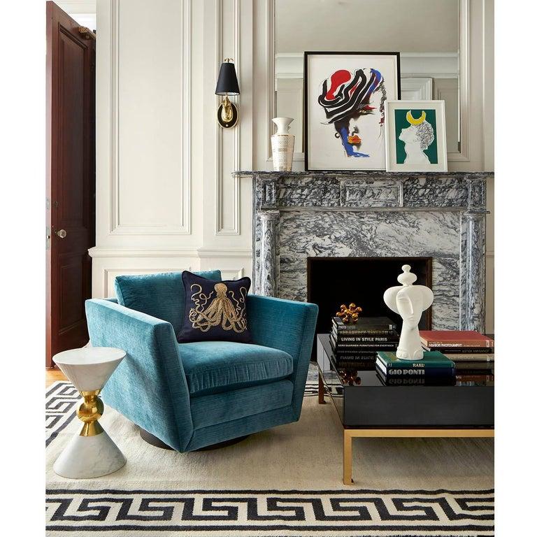 Sebastian Swivel Chair In Aegean Blue Velvet For Sale At