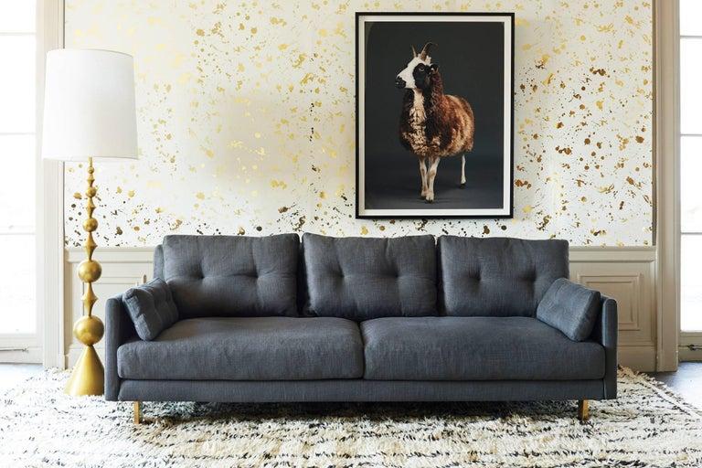 Brass Malibu Sofa in Pearl Bouclé For Sale