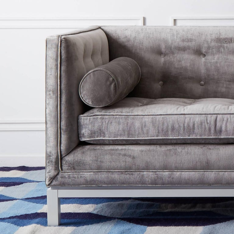 Lampert Sofa in Charcoal Velvet In New Condition For Sale In New York, NY
