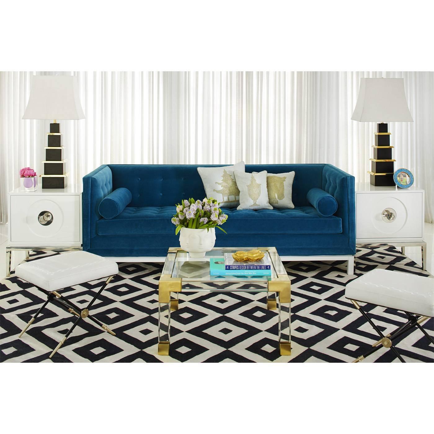 Delightful American Lampert Sofa In Peacock Velvet For Sale