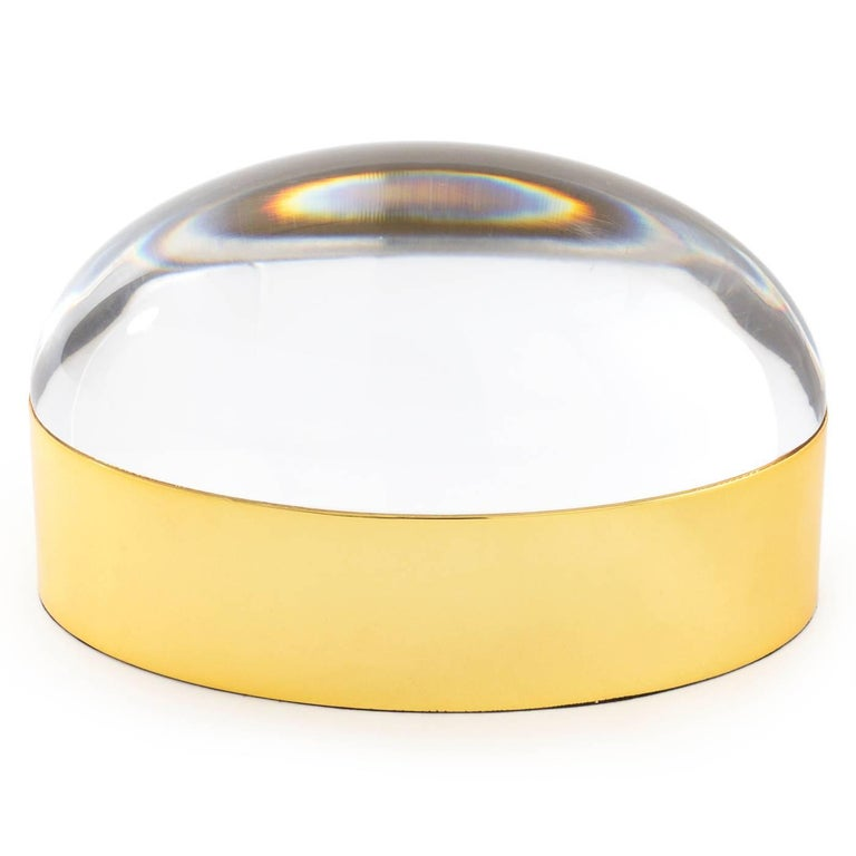 Modern Set of Lucite and Brass Globo Boxes For Sale