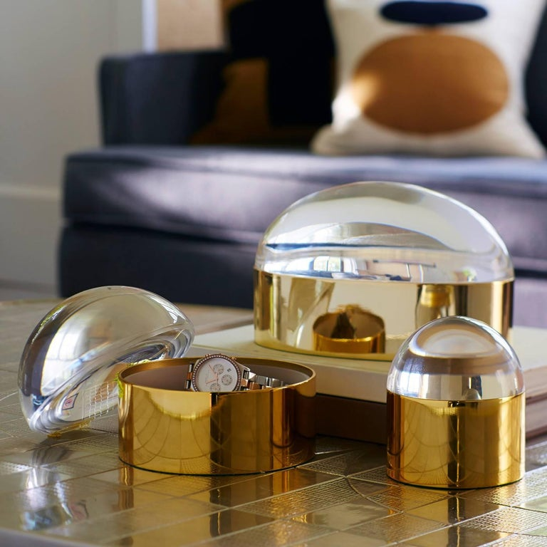American Set of Lucite and Brass Globo Boxes For Sale