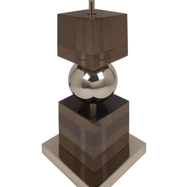 American Jacques Stacked Lucite Lamp For Sale