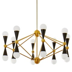 Caracas Black and Brass Sixteen-Light Chandelier