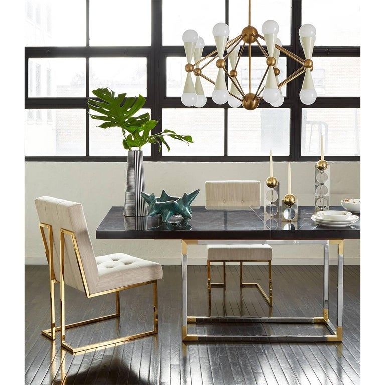 Contemporary Caracas Black and Brass Sixteen-Light Chandelier For Sale