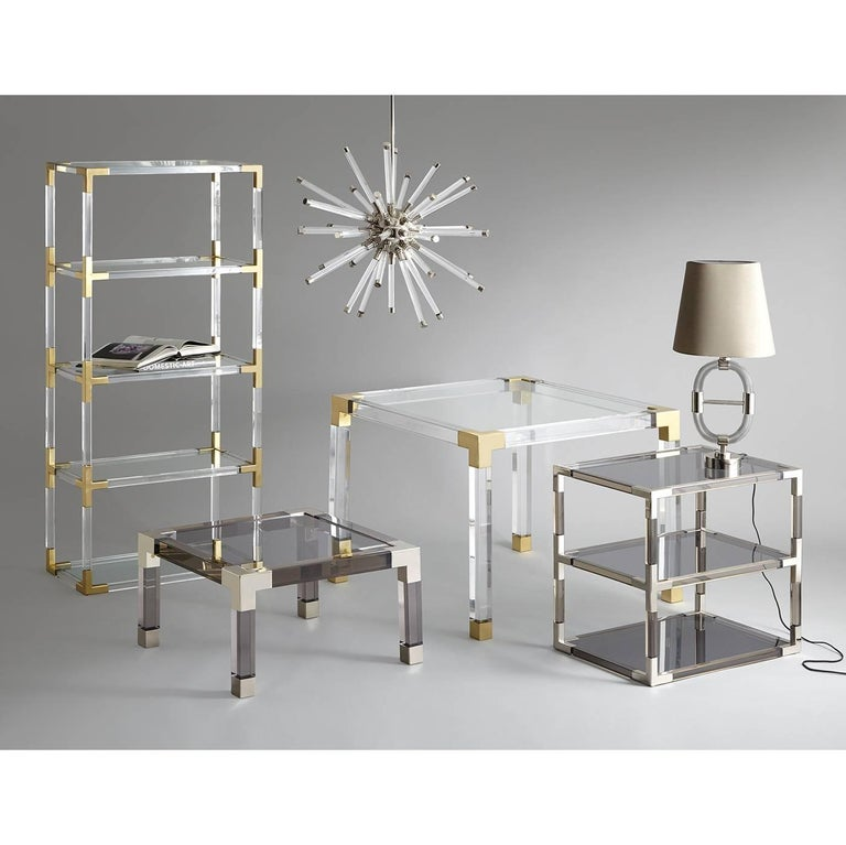 Jacques Lucite and Brass Cocktail Table In New Condition For Sale In New York, NY
