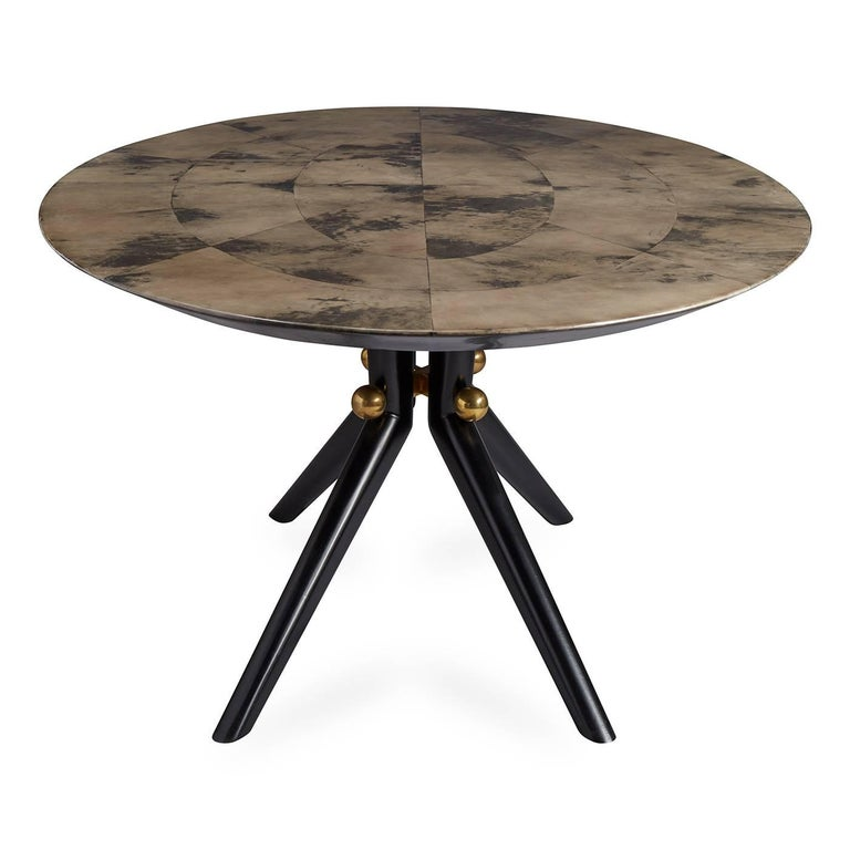 American Trocadero Lacquered Goatskin Dining Table For Sale