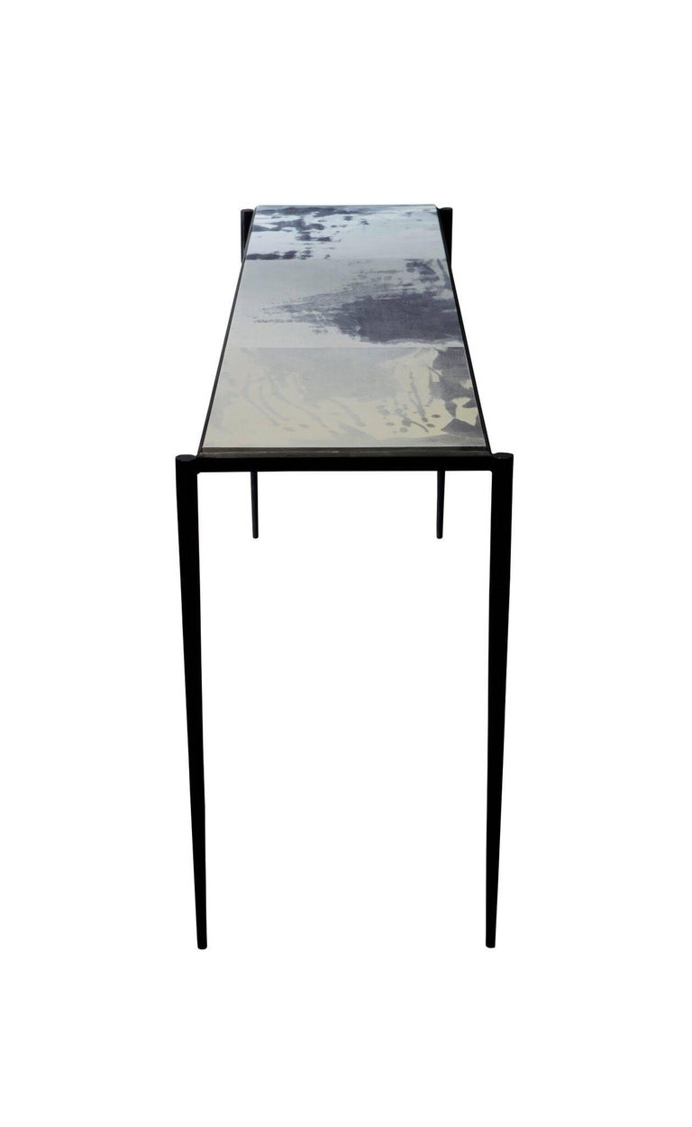 Shibori Console Table with Hand-Painted Goatskin Parchment and Hand-Forged Steel For Sale 1
