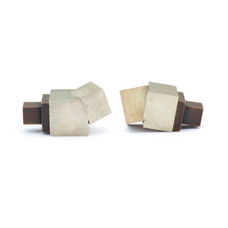 American Pyrite and Solid Bronze Knob For Sale