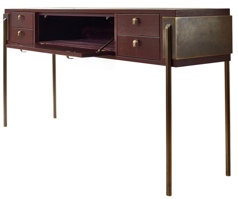 American Black Orchid Contemporary Leather Console with Bronze Legs, Christina Z Antonio For Sale