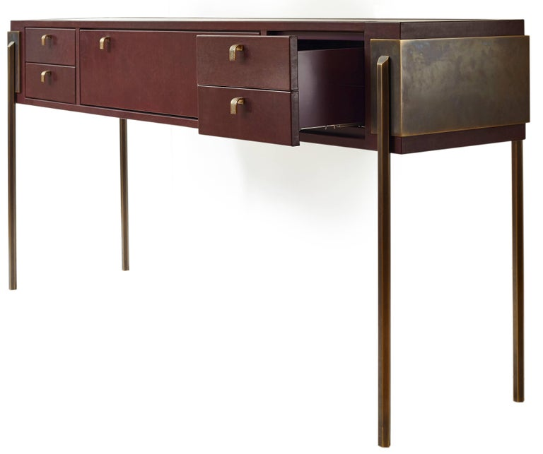 Cast Black Orchid Contemporary Leather Console with Bronze Legs, Christina Z Antonio For Sale