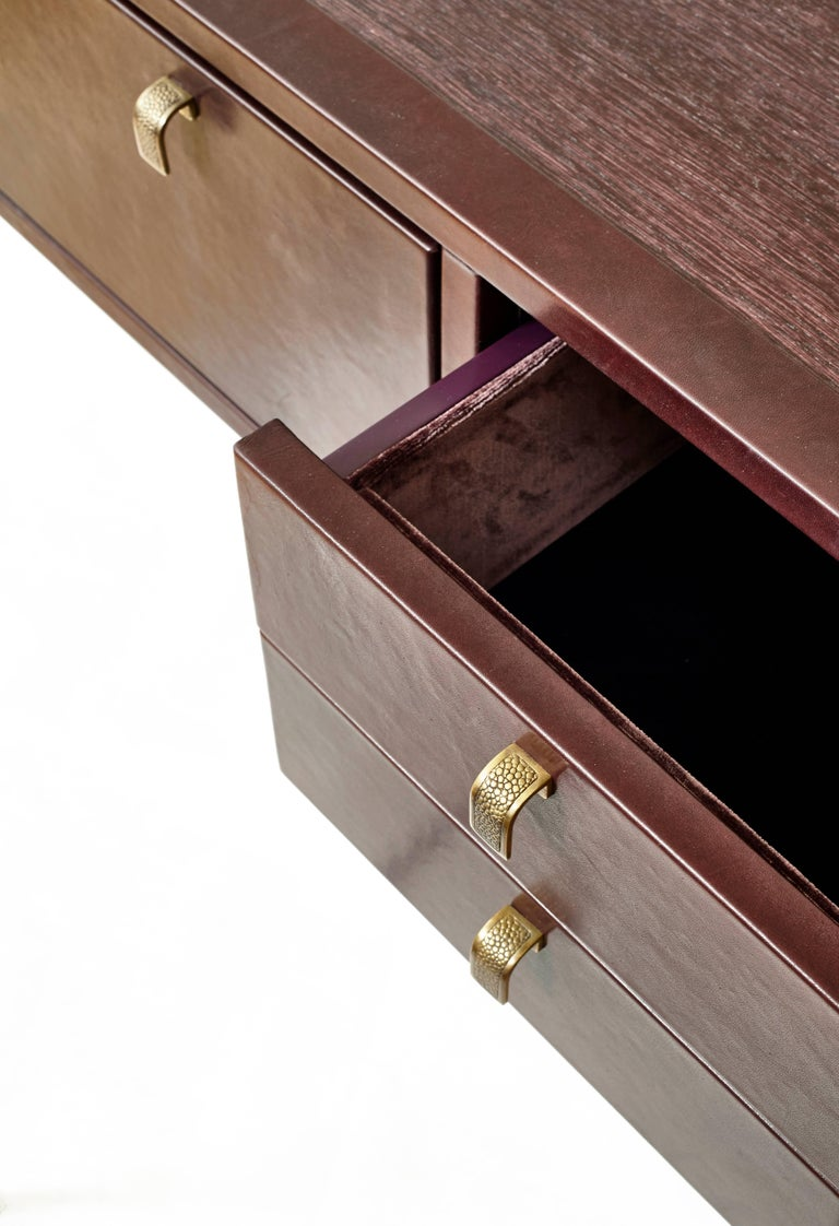Velvet Black Orchid Contemporary Leather Console with Bronze Legs, Christina Z Antonio For Sale