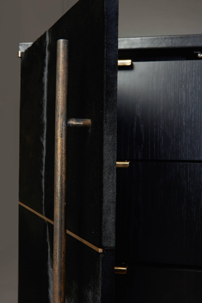 American Raven Credenza Cabinet with Velvet Calf, Blackened Oak by Christina Z Antonio For Sale