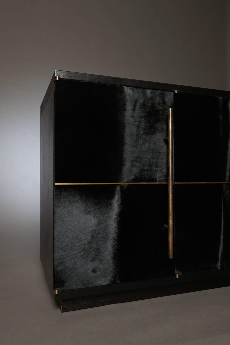 Contemporary Raven Credenza Cabinet with Velvet Calf, Blackened Oak by Christina Z Antonio For Sale