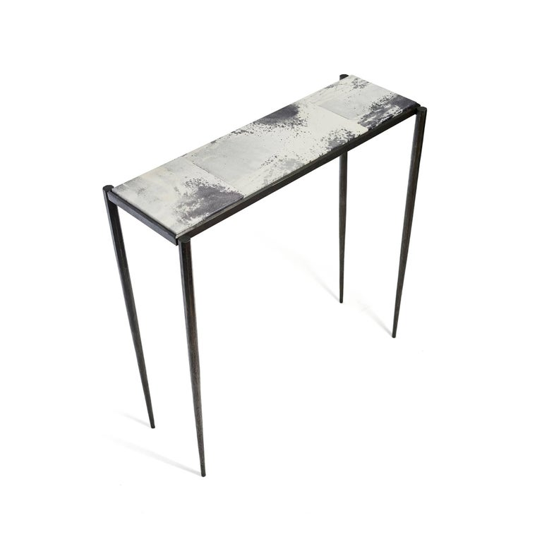 American Shibori Console Table with Hand-Painted Goatskin Parchment and Hand-Forged Steel For Sale