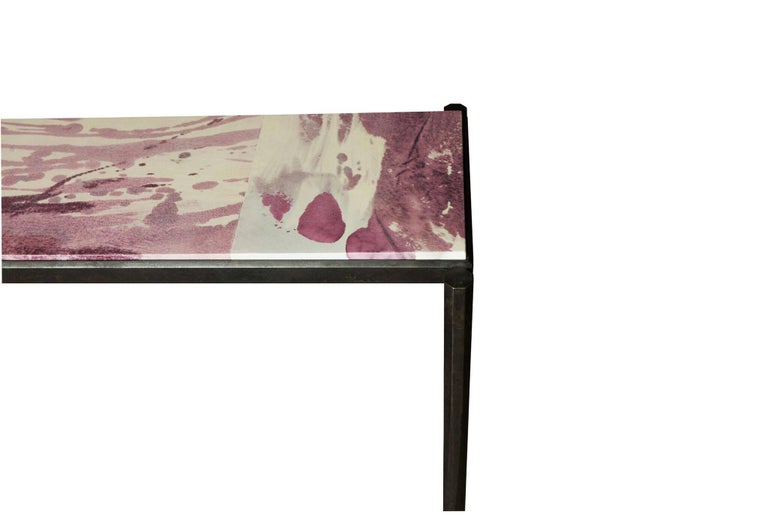 Contemporary Shibori Console Table with Hand-Painted Goatskin Parchment and Hand-Forged Steel For Sale
