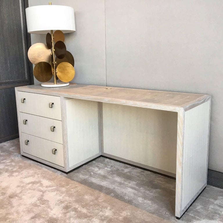 Contemporary Water Desk with Eel Skin, Shagreen, Cerused White Oak and Patinated Bronze For Sale