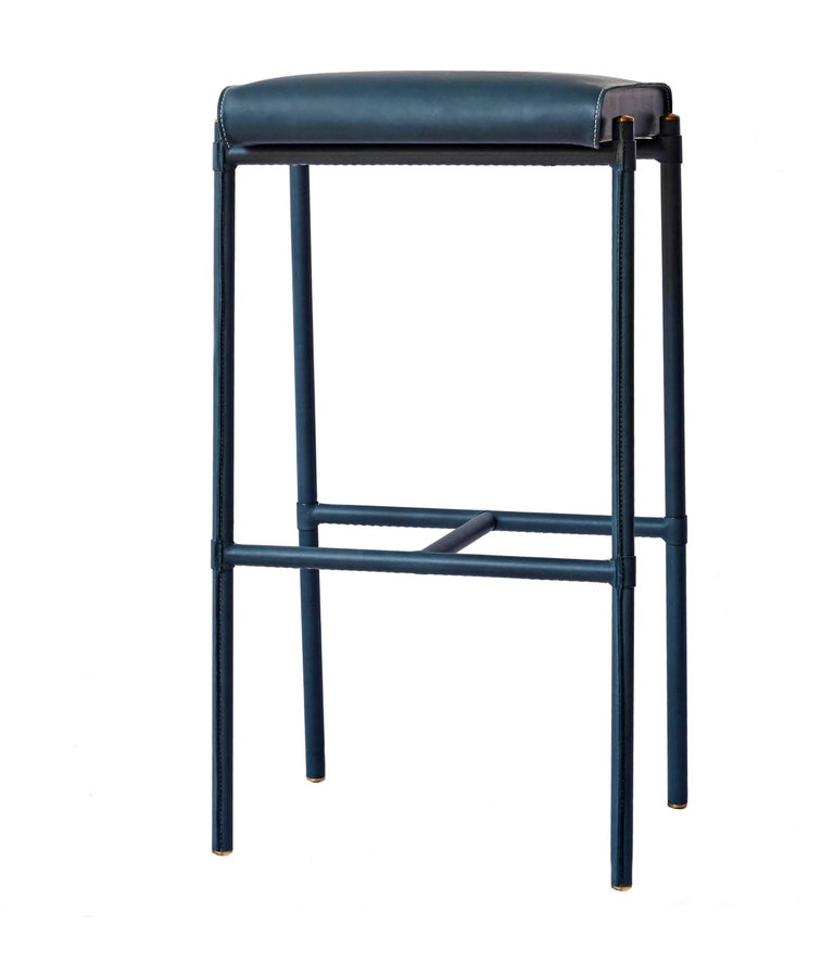 Jacqueline Bar Stool Leather Wrapped And Hand Stitched
