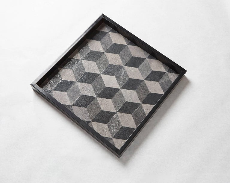 Modern 'GEO' Shagreen Tray, Shagreen Marquetry by Christina Z Antonio For Sale
