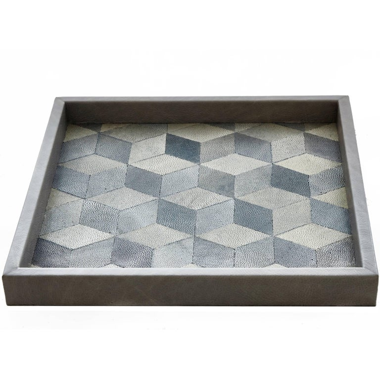 Hand-Crafted 'Geo' Shagreen Tray, Shagreen Marquetry by Christina Z Antonio For Sale