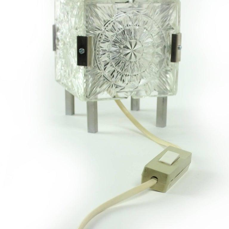 Aluminum Bohemian Crystal Glass Table Lamp by Kamenický Šenov, Czechoslovakia, circa 1970 For Sale