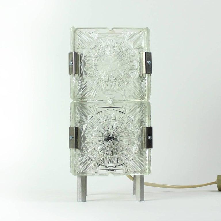 Bohemian Crystal Glass Table Lamp by Kamenický Šenov, Czechoslovakia, circa 1970 2