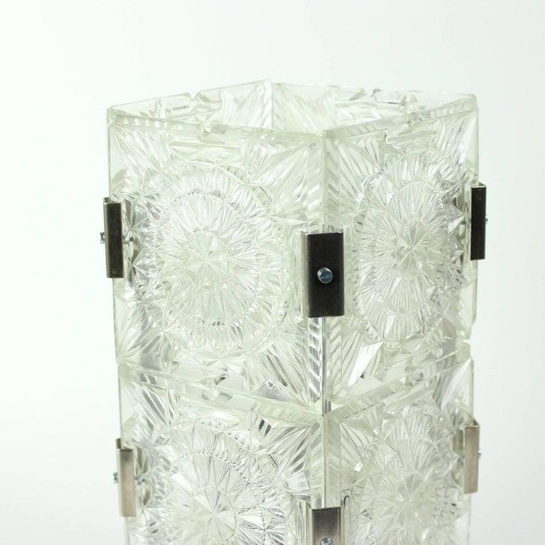 Bohemian Crystal Glass Table Lamp by Kamenický Šenov, Czechoslovakia, circa 1970 In Good Condition For Sale In Zohor, SK