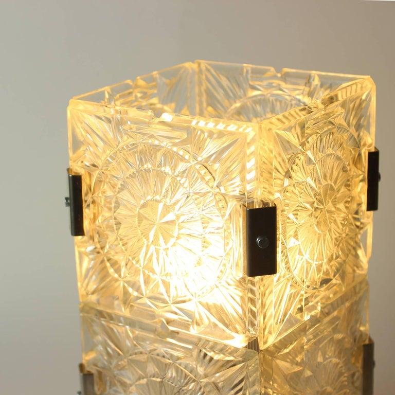 Bohemian Crystal Glass Table Lamp by Kamenický Šenov, Czechoslovakia, circa 1970 For Sale 4