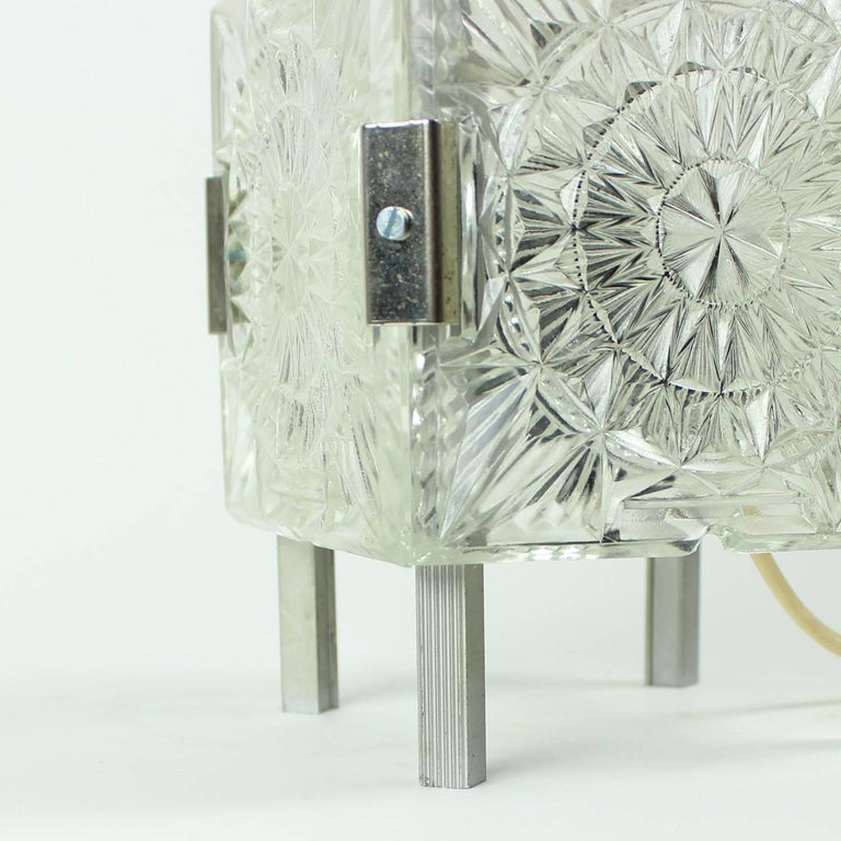 Bohemian Crystal Glass Table Lamp by Kamenický Šenov, Czechoslovakia, circa 1970 For Sale 3