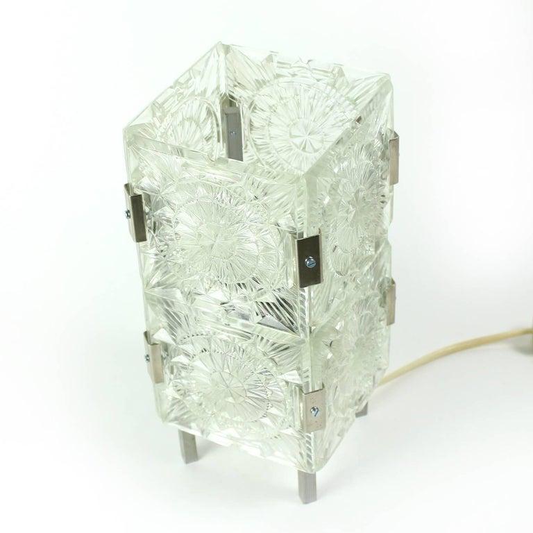 Late 20th Century Bohemian Crystal Glass Table Lamp by Kamenický Šenov, Czechoslovakia, circa 1970 For Sale