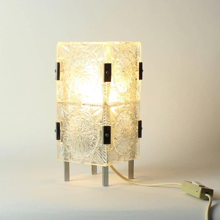 Bohemian Crystal Glass Table Lamp by Kamenický Šenov, Czechoslovakia, circa 1970 10