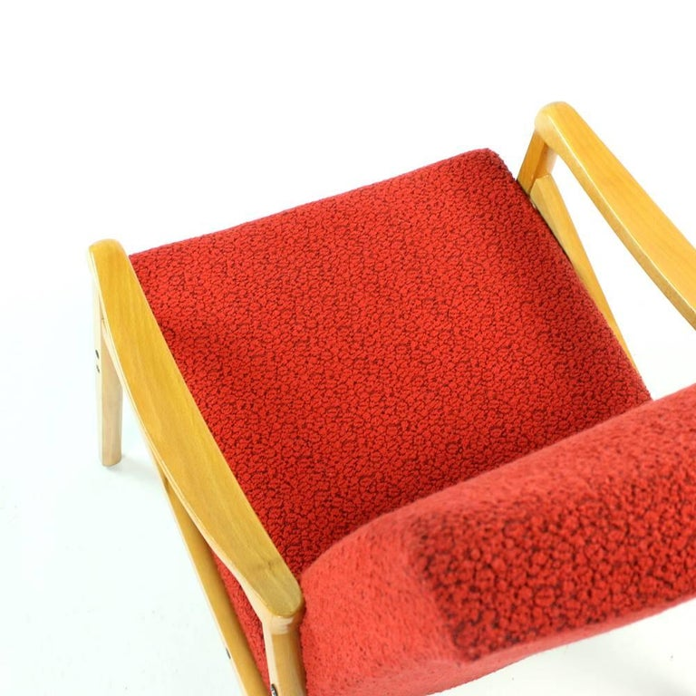 Late 20th Century Mid-Century Armchair in Original Red Upholstery, Interier Praha, Czechoslovakia For Sale