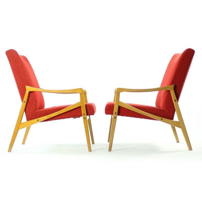 Mid-Century Modern Mid-Century Armchair in Original Red Upholstery, Interier Praha, Czechoslovakia For Sale