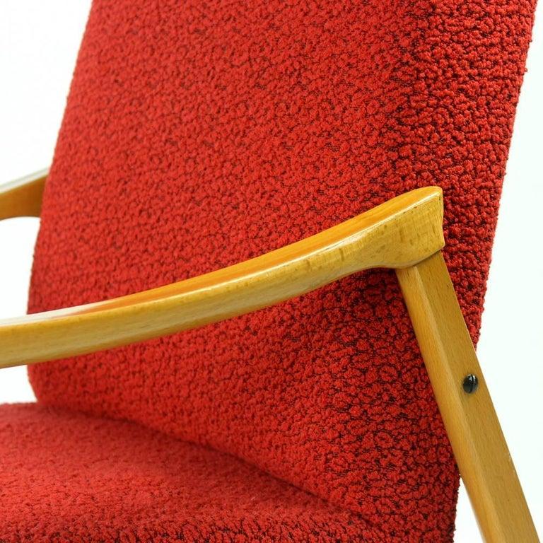 Mid-Century Armchair in Original Red Upholstery, Interier Praha, Czechoslovakia For Sale 2