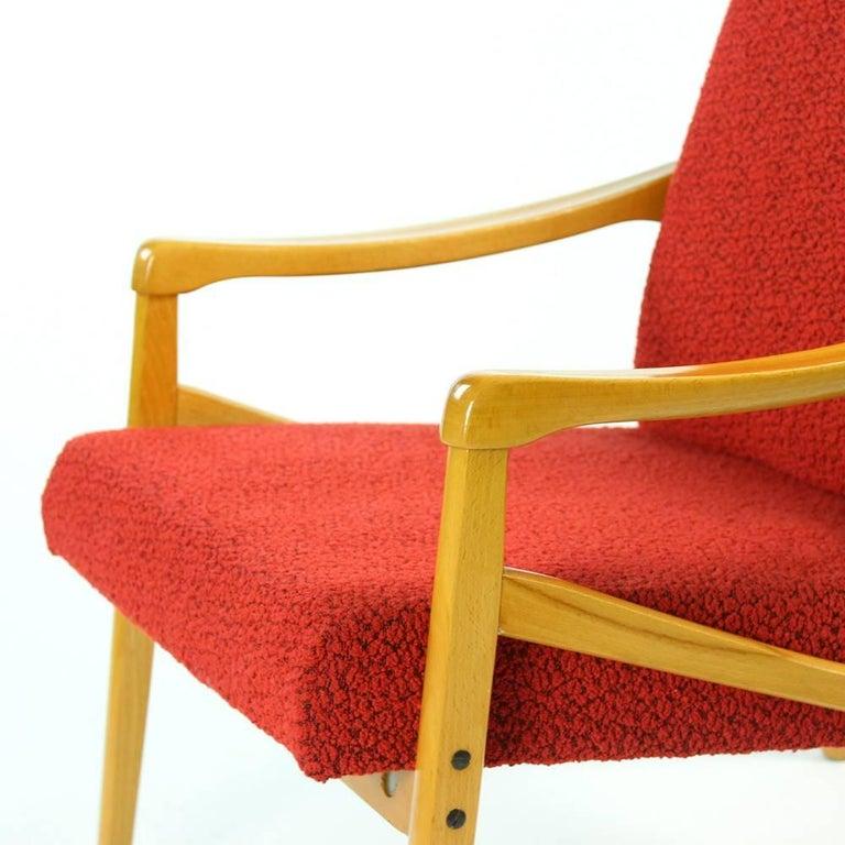 Mid-Century Armchair in Original Red Upholstery, Interier Praha, Czechoslovakia For Sale 3
