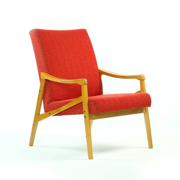 Mid-Century Armchair in Original Red Upholstery, Interier Praha, Czechoslovakia In Good Condition For Sale In Zohor, SK